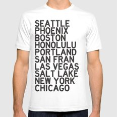 USA CITIES White MEDIUM Mens Fitted Tee