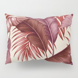 HAWAIIAN GARDEN TROPICAL LEAVES| burgundy ivory Pillow Sham
