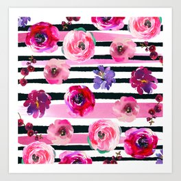 Bold Stripes and Florals Art Print