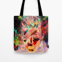 david bowie Tote Bags featuring Bowie by Joel Mata