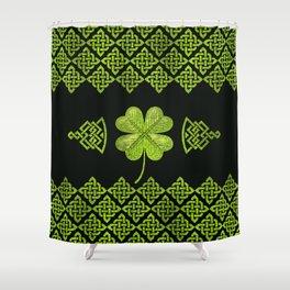 Irish Shamrock Four-leaf clover with celtic decor Shower Curtain