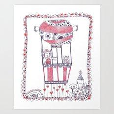 Two Owls in a Hot-air Balloon Art Print