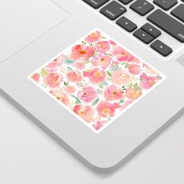 Pink Peonies Watercolor Pattern Sticker