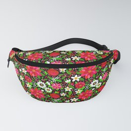 Christmas Flowers and Holly, Poinsettia, Roses and Lilies, holidays, girls floral gift, gift for mom Fanny Pack