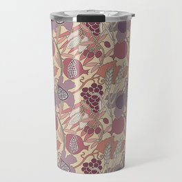 Seven Species Botanical Fruit and Grain in Mauve Tones Travel Mug