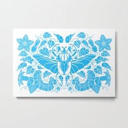 Beetle Bloom Blue Metal Print