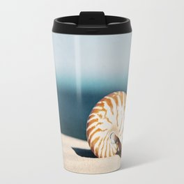 Seashell on Beach Photography, Nautilus Shell Coastal Photograph, Blue Orange Beach Landscape Travel Mug