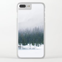 Evergreen Winter Forest (Color) Clear iPhone Case