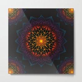 'Glowing Shamballa' Bohemian Mandala Black Blue Purple Orange Yellow Metal Print