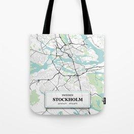 Stockholm Sweden City Map with GPS Coordinates Tote Bag