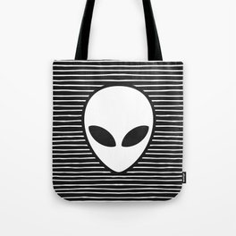 Alien on Black and White stripes Tote Bag