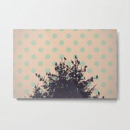 Birds and pine tree Metal Print