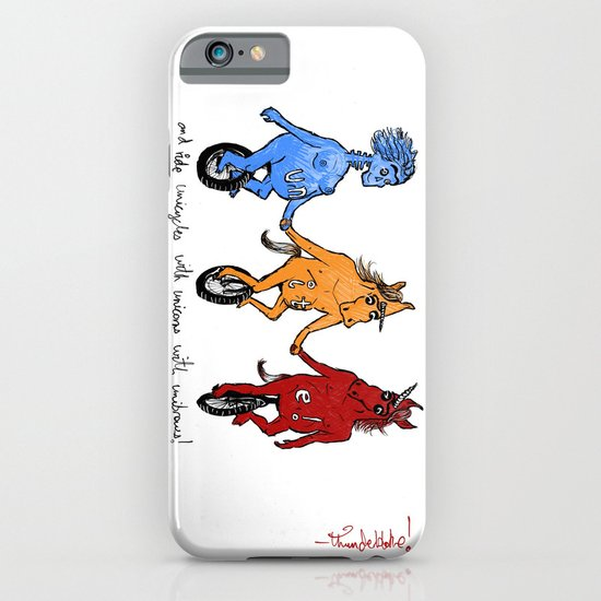 unite! and ride unicycles with unicorns with unibrows! iPhone & iPod Case