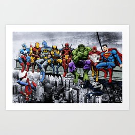 Superhero Lunch Meetup Art Print