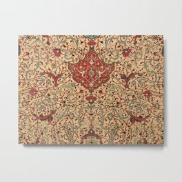 Flowery Vines XI // 16th Century Contemporary Red Blue Yellow Colorful Ornate Accent Rug Pattern Metal Print