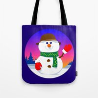 snowman Tote Bags featuring SnowMan by tuditees