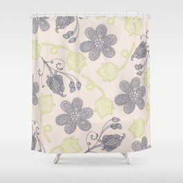 Modern vintage mint green ivory gray floral Shower Curtain