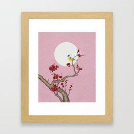 Plum blossoms, bird, and the moon Type G (Minhwa: Korean traditional/folk art) Framed Art Print