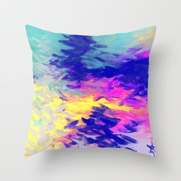 Neon Mimosa Inspired Painting Throw Pillow