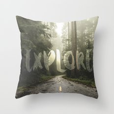Forest Fog Explore Travel - Redwood National Park Trees in California Wanderlust Wall Tapestry Love Throw Pillow