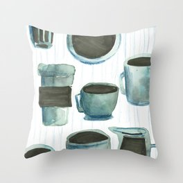 coffees watercolor Throw Pillow