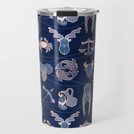 Geometric astrology zodiac signs // navy blue and coral Travel Mug