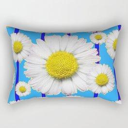Modern Art Blue Shasta Flowers Pattern Rectangular Pillow