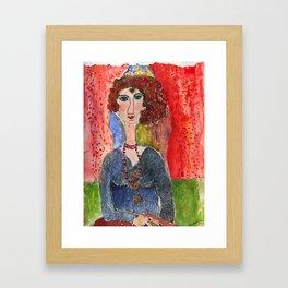 lady with orange beads Framed Art Print