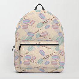 Sweet French pastries. Macaron. Backpack