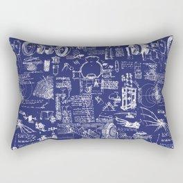 Da Vinci's Sketchbook // Dark Blue Rectangular Pillow