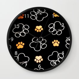 Dog Puppy Paw Prints Gifts Black and Gold Wall Clock