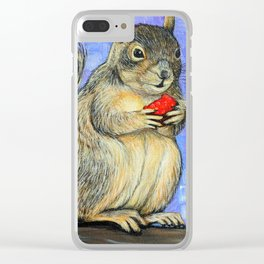 Cheeky Squirrel Painting Clear iPhone Case