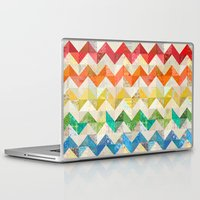 quilt Laptop & iPad Skins featuring Chevron Rainbow Quilt by Rachel Caldwell