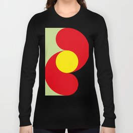 This is a sun splitting the sky in two sides, one black, one green. Spitting deep red round rays. Long Sleeve T-shirt