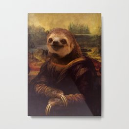 Sloth  Mona Lisa Metal Print
