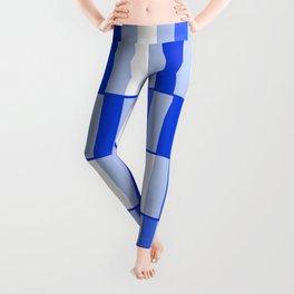 Long Blocks Geometric Check Pattern in Light Blue, Royal Blue, and White Leggings