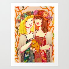 Snow White and Rose Red Art Print