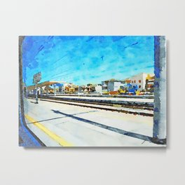 Travel by train from Teramo to Rome: station platform and buildings Metal Print