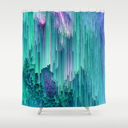 Emerald City - Glitched Pixel Abstract Art Shower Curtain