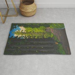 Vintage Japanese Woodblock Print Kawase Hasui Mystical Japanese forest Tall Green Rug