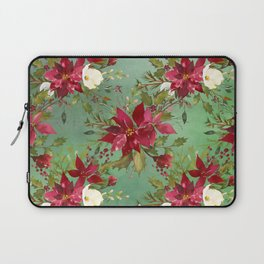 Burgundy red forest green white watercolor Christmas flowers Laptop Sleeve