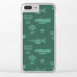 Airship Pattern Green Clear iPhone Case