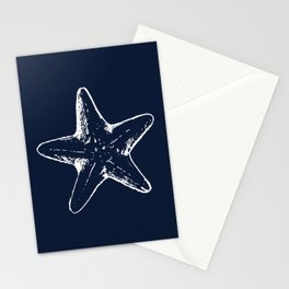 Navy Blue Star Fish Nautical Beach House Decor Stationery Cards