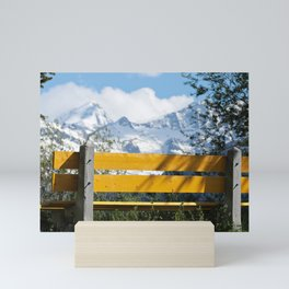 Bench and Mountain Landscape Mini Art Print