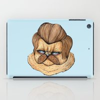 ron swanson iPad Cases featuring Ron Swanson Cat by Julia Emiliani