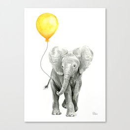 Elephant Watercolor Yellow Balloon Whimsical Baby Animals Canvas Print