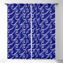 Rough Sea Pattern - white on blue Blackout Curtain
