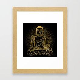 Golden Buddha on Black Framed Art Print