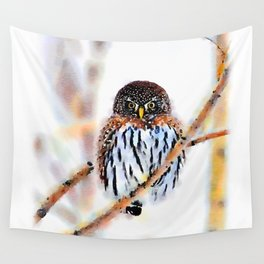 Winter Owl Watercolor Wall Tapestry