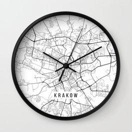Krakow Map, Poland - Black and White Wall Clock